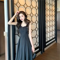 Dress Summer 2021 black S,M,L Mid length dress singleton  Sleeveless commute V-neck middle-waisted Solid color Socket Big swing routine camisole 25-29 years old Type A Immortal dust Simplicity Fold, zipper, 3D More than 95% other other