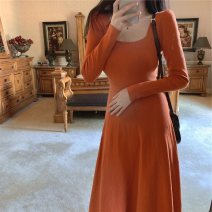 Dress Winter 2020 Black, orange S,M,L Mid length dress singleton  Long sleeves commute Crew neck middle-waisted Solid color Socket Big swing routine Others 25-29 years old Type A Immortal dust Simplicity 3D More than 95% knitting other