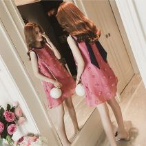Lace / Chiffon Summer 2020 Apricot, pink S,M,L,XL,2XL Sleeveless commute singleton  Crew neck Decor 18-24 years old Other / other Three dimensional decoration Korean version