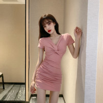 Dress Summer 2021 Pink, black S,M,L Short skirt singleton  Short sleeve commute V-neck High waist Solid color Socket Pencil skirt routine Others 18-24 years old Korean version Fold, splice JZ060601 31% (inclusive) - 50% (inclusive) knitting cotton