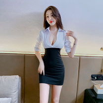 Dress Summer 2021 Picture color S,M,L,XL Short skirt singleton  Long sleeves commute V-neck High waist Solid color Socket One pace skirt routine 25-29 years old Korean version Splicing polyester fiber