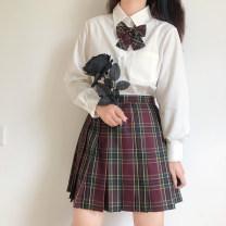 skirt Autumn 2020 XS,S,M,L,XL,2XL,3XL,4XL,5XL Hawthorn skirt, hawthorn skirt, hawthorn bow tie, seaweed skirt, seaweed skirt, seaweed bow tie, amaranth skirt, amaranth skirt, amaranth bow tie Short skirt commute High waist Pleated skirt lattice Type A Q49-Q54 Xingnai superior product polyester fiber