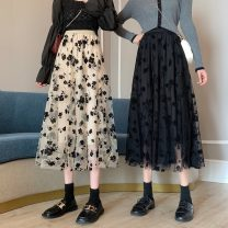skirt Spring 2021 Average size Apricot black Mid length dress commute High waist A-line skirt Decor Type A 18-24 years old W0118_ 7ItnC 81% (inclusive) - 90% (inclusive) Chiffon Gooseby polyester fiber printing Korean version Polyester 89.7% others 10.3% Pure e-commerce (online only)