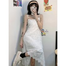 Dress Summer 2021 white S M L Mid length dress singleton  Sleeveless commute V-neck High waist other other Princess Dress other camisole 18-24 years old Type A Gooseby Korean version Lace 81% (inclusive) - 90% (inclusive) other polyester fiber Polyester 87.9% other 12.1% Pure e-commerce (online only)