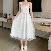 Dress Summer 2020 White yellow Average size Mid length dress singleton  Sleeveless commute One word collar middle-waisted Decor Socket A-line skirt other camisole 18-24 years old Type A Gooseby Korean version Gauze 5+7_ zdl1U 51% (inclusive) - 70% (inclusive) Lace cotton Cotton 53.6% others 46.4%