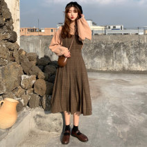 Dress Spring 2021 Shirt plaid skirt Average size Mid length dress Two piece set Long sleeves commute square neck High waist lattice Socket A-line skirt routine straps 18-24 years old Type A Gooseby Korean version straps jZb4B 81% (inclusive) - 90% (inclusive) other polyester fiber
