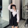 Dress Spring 2021 White shirt one piece black dress one piece Average size Short skirt Two piece set Long sleeves commute V-neck High waist Solid color Socket A-line skirt routine camisole 18-24 years old Type A Gooseby Korean version Splicing tH84R 81% (inclusive) - 90% (inclusive) polyester fiber