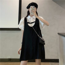 Fashion suit Spring 2021 Average size White top black strap skirt 18-25 years old Gooseby 81% (inclusive) - 90% (inclusive) cotton Cotton 89.7% others 10.3% Pure e-commerce (online only)