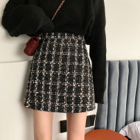 skirt Winter 2020 S M L Khaki black Short skirt Versatile High waist A-line skirt lattice Type A 18-24 years old 2259#_ Lm6sq 71% (inclusive) - 80% (inclusive) Wool Gooseby cotton zipper Cotton 78.3% others 21.7% Pure e-commerce (online only)