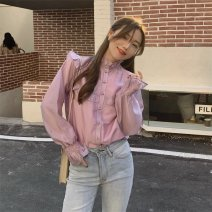 shirt White pink Average size Autumn 2020 cotton 71% (inclusive) - 80% (inclusive) Long sleeves commute Regular stand collar Single row multi button routine Solid color 18-24 years old Straight cylinder Gooseby Korean version neo8V Button Cotton 73.8% other 26.2% Pure e-commerce (online only)