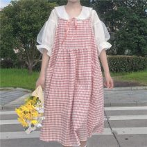 Dress Spring 2021 Shirt, vest and skirt Average size longuette Two piece set Short sleeve Doll Collar Loose waist lattice Socket A-line skirt routine straps 18-24 years old Type A Gooseby Splicing 9647# 81% (inclusive) - 90% (inclusive) polyester fiber Polyester 89.7% others 10.3%