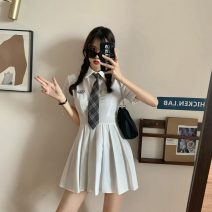 Dress Summer 2021 White, blue, black S M Short skirt singleton  Short sleeve commute Polo collar High waist Solid color Socket A-line skirt routine 18-24 years old Type A Gooseby Korean version Button 81% (inclusive) - 90% (inclusive) brocade polyester fiber Polyester 87.9% other 12.1%