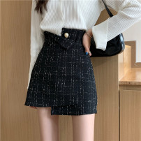 skirt Autumn 2020 S M L Picture color Short skirt commute High waist A-line skirt lattice Type A 18-24 years old 71% (inclusive) - 80% (inclusive) Wool Gooseby cotton zipper Korean version Cotton 78.3% others 21.7% Pure e-commerce (online only) 40g / m ^ 2 and below