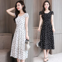 Dress Spring of 2019 Black and white S M L XL 2XL 3XL longuette singleton  Long sleeves commute Crew neck middle-waisted Broken flowers Socket Big swing routine Others 25-29 years old Type A Nicanila Korean version NKNL19A907&* More than 95% Chiffon polyester fiber Polyester 100%