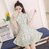 Dress Summer of 2018 Safflower and yellow flower S M L XL Short skirt singleton  Short sleeve commute Crew neck middle-waisted Decor double-breasted A-line skirt routine Others 18-24 years old Nicanila Korean version More than 95% polyester fiber Polyester 100% Pure e-commerce (online only)