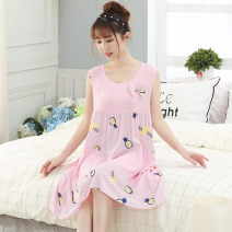 Nightdress Dan Yarong XL XXL Sweet Sleeveless Leisure home Middle-skirt summer Plants and flowers youth Crew neck printing More than 95% R45 Summer of 2019 Viscose (viscose) 100% Same model in shopping mall (sold online and offline)