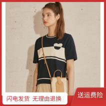 Wool knitwear Summer 2021 S,M,L L3 with white short sleeve Navy, L3 with white short sleeve green Short sleeve singleton  Socket cotton 51% (inclusive) - 70% (inclusive) Regular Thin money commute Straight cylinder Low crew neck routine Solid color Socket Korean version Cool