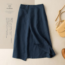 skirt Spring 2021 M L XL 2XL Khaki blue brown apricot Mid length dress commute High waist A-line skirt Solid color Type A 25-29 years old More than 95% He Yongzi hemp pocket literature Flax 100%