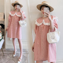 Dress Dear Li Lili Pink M,L,XL,XXL Korean version Short sleeve Medium length summer Lapel lattice Pure cotton (95% and above)
