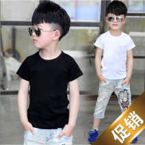 T-shirt Black, white Other / other 90cm,100cm,110cm,120cm,130cm,140cm,150cm,160cm male summer Short sleeve Crew neck motion There are models in the real shooting nothing cotton Solid color Cotton 95% pan 5% A2222 Class B Sweat absorption Three, four, five, six, seven, eight, nine, ten, eleven, twelve