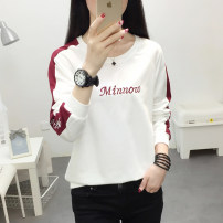 T-shirt M - for 85-100kg, L - for 100-110kg, XL - for 110-120kg, XXL - for 120-135kg, 3XL - for 135-150kg Autumn of 2019 Long sleeves Crew neck easy Regular routine commute cotton 96% and above Korean version youth Letters, color matching Stitching, embroidery, thread