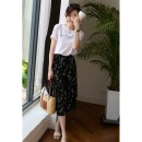 skirt Spring 2021 S,M,L,XL Small black flowers Mid length dress Versatile High waist A-line skirt Decor Type A 25-29 years old SK - two thousand seven hundred and twenty-two More than 95% other Jian Pu other
