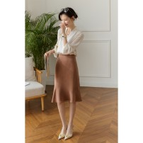 skirt Spring 2021 S,M,L,XL Middle-skirt commute skirt Solid color Type H 25-29 years old 51% (inclusive) - 70% (inclusive) Jian Pu Cellulose acetate
