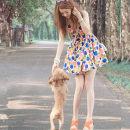 Dress Spring of 2018 Graph color wave point S,M,L,XL,2XL Short skirt singleton  Sleeveless V-neck High waist Dot Socket routine Type A zipper