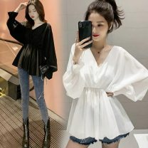 Women's large Summer 2020, spring 2020 shirt singleton  commute easy thin Socket Long sleeves Solid color Korean version V-neck routine other Bat sleeve fungus 71% (inclusive) - 80% (inclusive) Lotus leaf edge