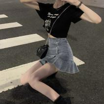 skirt Summer 2020 S. M, l, average size Washed blue skirt, black T Short skirt High waist Solid color Type A 8352# fold