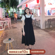 Dress Summer 2021 College white shirt pre-sale, witch black suspender skirt pre-sale, college white [shirt], Witch Black [suspender skirt], [size recommendation] S,M,L Mid length dress Sleeveless Sweet square neck other straps Sltown