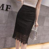 skirt Autumn 2020 S,M,L,XL,2XL Apricot, black Mid length dress commute High waist A-line skirt Solid color Type A 30% and below Zipper, lace Korean version