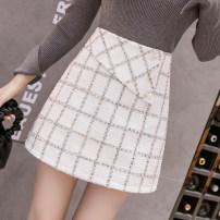 skirt Autumn 2020 S,M,L,XL White, black Short skirt commute High waist A-line skirt lattice Type A 5929#Q Korean version