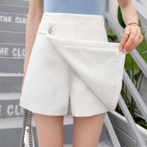 Casual pants White, black S,M,L,XL,2XL Summer 2021 shorts Wide leg pants High waist commute Thin money 955#-L other Korean version zipper Asymmetry