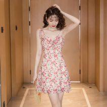 Dress Summer 2021 Pink flowers S,M,L,XL Short skirt singleton  Sleeveless commute V-neck High waist Decor Socket A-line skirt other camisole Korean version Bandages, bows 8932#W