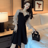 Dress Spring 2021 black S,M,L,XL,2XL,3XL Short skirt singleton  Long sleeves commute V-neck High waist Solid color Socket A-line skirt puff sleeve Type A Korean version Splicing 6768# polyester fiber