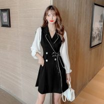 Dress Spring 2021 black S,M,L,XL,2XL,3XL,4XL Short skirt singleton  Long sleeves commute tailored collar High waist other double-breasted A-line skirt puff sleeve Others Type A Korean version Bow, button 5150#M 31% (inclusive) - 50% (inclusive)