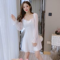 Dress Spring 2021 white S,M,L,XL,2XL Short skirt singleton  Long sleeves commute square neck High waist Solid color Socket A-line skirt routine Others Type A Korean version Lace 1116#W 91% (inclusive) - 95% (inclusive)