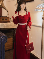 Dress Spring 2021 gules S,M,L longuette singleton  Long sleeves commute square neck High waist Solid color zipper 18-24 years old court