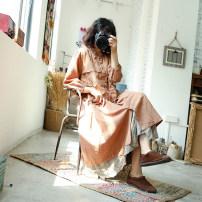 Dress Summer 2021 Orange powder, khaki, apricot grey No return, no exchange Mid length dress singleton  Sweet Loose waist Solid color Type A 31% (inclusive) - 50% (inclusive) cotton Mori
