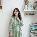 Dress Summer 2021 Green, pink Average size Mid length dress three quarter sleeve commute Loose waist Solid color Type A 31% (inclusive) - 50% (inclusive) cotton
