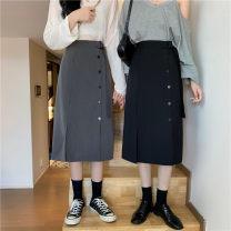 skirt Autumn 2020 M,L,XL,2XL,3XL,4XL Black, gray Mid length dress commute High waist A-line skirt Solid color Type A 91% (inclusive) - 95% (inclusive) Lace up, button Korean version