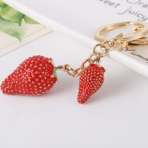 Key buckle Capital of shell drilling strawberry kirsite Imitation food series Idyllic