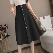 skirt Autumn 2020 XL,L,M,S Apricot, black, khaki commute High waist A-line skirt Solid color 909#H Button Korean version