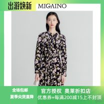 Dress Winter of 2019 Black flower 150/76A/XS,155/80A/S,160/84A/M,165/88A/L,170/92A/XL Mid length dress singleton  Long sleeves Sweet other middle-waisted Decor Single breasted other routine Others 25-29 years old Type X Migaino / manyanu printing 91% (inclusive) - 95% (inclusive) polyester fiber