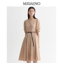 Dress Summer 2020 rose gold 150/76A/XS,155/80A/S,160/84A/M,165/88A/L,170/92A/XL Mid length dress singleton  elbow sleeve Sweet Crew neck High waist Single breasted A-line skirt bishop sleeve Others 25-29 years old Type A Migaino / manyanu Button MK12DA148 51% (inclusive) - 70% (inclusive) other