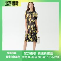 Dress Summer of 2019 Black flower 150/76A/XS,155/80A/S,160/84A/M,165/88A/L,170/92A/XL Mid length dress singleton  Short sleeve Crew neck middle-waisted other zipper A-line skirt routine 25-29 years old Type A Migaino / manyanu printing More than 95% other polyester fiber