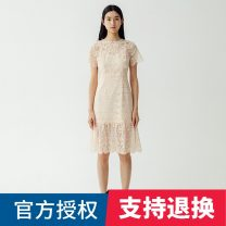 Dress Spring 2021 150/76A/XS,155/80A/S,160/84A/M,165/88A/L,170/92A/XL Mid length dress singleton  Short sleeve Sweet Crew neck middle-waisted Broken flowers zipper A-line skirt puff sleeve 25-29 years old Type A Migaino / manyanu Lace 51% (inclusive) - 70% (inclusive) other cotton Bohemia