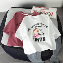 T-shirt White red yellow S M L XL Summer 2020 Short sleeve Crew neck easy Regular routine commute cotton 86% (inclusive) -95% (inclusive) 18-24 years old Korean version originality Cartoon letters Wang Jiao printing Cotton 95% polyurethane elastic fiber (spandex) 5% Pure e-commerce (online only)