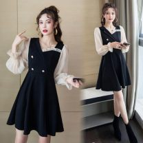 Dress Autumn 2020 black S,M,L,XL,2XL Middle-skirt singleton  Long sleeves commute High waist Solid color Socket A-line skirt bishop sleeve 18-24 years old Type A Korean version Splicing 81% (inclusive) - 90% (inclusive)
